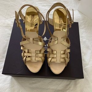 Michael Kors gold nude strappy sandals heels